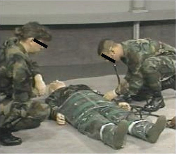Figure 1 :Paramedics inflating the MAST with a simulated soldier