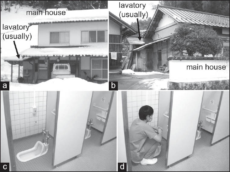 Figure 2: Lavatory in typical Japanese rural areas: lavatory in the separated or outside location from the main house in the typical classic Japanese house (a and b) and Japanese-style toilet equipment on which we squatted down and must keep the position (c and d)